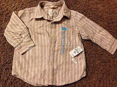 NEW Boys 18 Months Button Down Striped Longsleeved Top Beige