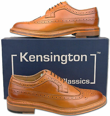 Mens New Tan Full Leather American Style Brogues Shoes Size 6 7 8 9 10 11 12