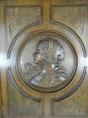 Antique French Gothic Solid Oak Brown Carved Wood Panel/Door - Antique woman