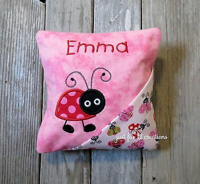 Girl's Personalized Embroidered Pink  Lady Bug Design Tooth Fairy Pillow Ladybug
