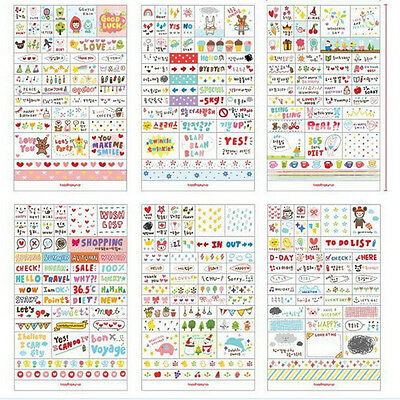 New 6 Sheets Paper Stickers for Diary Scrapbook Book Wall Decor Skin DIY