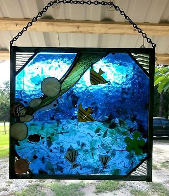 Stained Glass fused panel with fish and sea urchins Blue yellow New 13W x 12.5 T