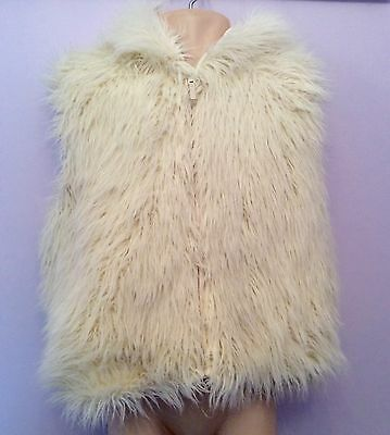 Monsoon Winter White Faux Fur Hooded Gillet Age 8-10 Years