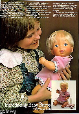 1977 ADVERT Baby Burps Vogue Doll Dolls New Introduction