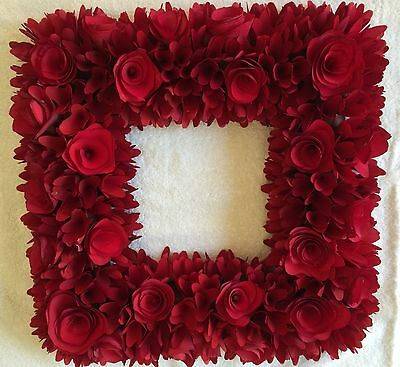 SALE Red Square Wood Curl Wreath