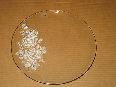 """Viking Glass Etched Rose Serving Dish Plate 12"""""""