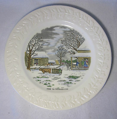 ADAMS est 1657 england N.CURRIER HOME FOR THANKSGIVING dinner plate