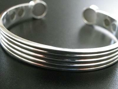 Magnetic Bracelet, Silver Plated Copper with six Neodymium Magnets 16000 Gauss