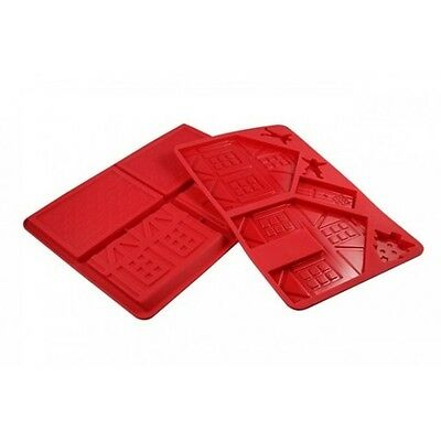 D.Line 3D Silicone Gingerbread House Chocolate Mould Set of 2 - Red - Christmas