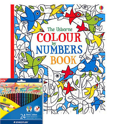 Fiona Watt The Usborne Colour by Numbers Book With Colouring Pencils NEW