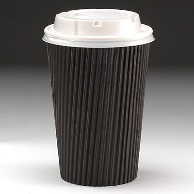 50 x 12oz Black Ripple Cups & White Lids. Coffee Tea Insulated Disposable Cups