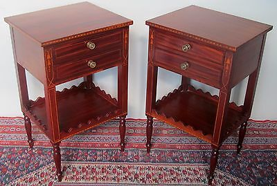 Fine Pair Solid Santa Dominican Mahogany Sheraton Inlaid Nightstands
