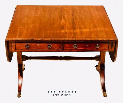 18thC REGENCY PERIOD MAHOGANY W/ ROSEWOOD & EBONY CROSS BANDED INLAID SOFA TABLE