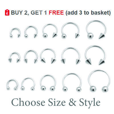 Horseshoe Bar Circular Barbell Steel Nose Septum Nipple Ear All Sizes 16G 14G