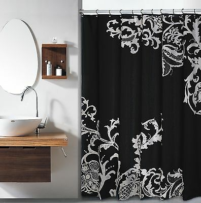 Curtains Ideas black shower curtain with white flower : Black Grey White Embossed Fabric Shower Curtain: Floral Damask ...