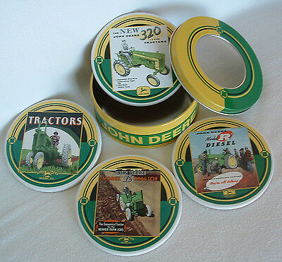 JOHN DEERE Coasters Stone TRACTORS Absorbent Cork FARMER FARM Country TIN Contnr