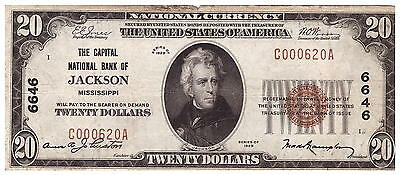 1929 National Currency Capital National Bank of Jackson MS $20 VF Details