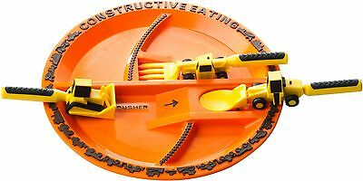 NEW Constructive Eating Construction Utensils & Plate Set