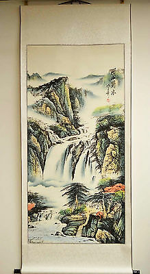 """Nice Asian Chinese Scroll Painting Landscape Home Decor Feng Shui 68""""L x 31""""W"""