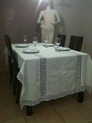TheresaSav Crochet Collection Elegant Timeless Hand Crafted Hardanger Tablecloth