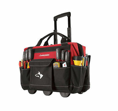 Husky 18 in. Rolling Mobile Heavy Duty Portable Tool Bag Storage Organizer Tote