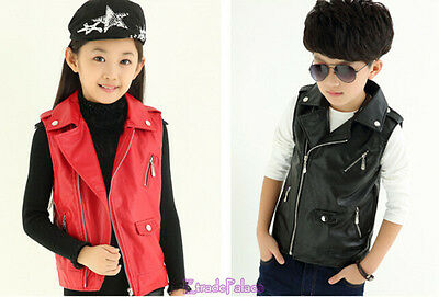New Spring 2017 Young Kids Girls&Boys Cool Leather Sleeveless Vest Jacket 4-14Y