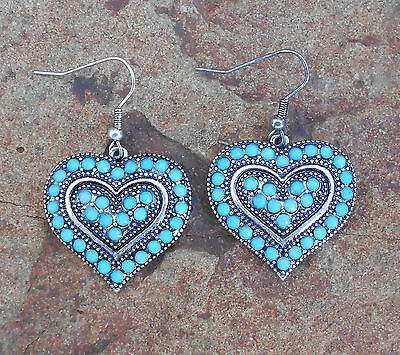 """'cowgirl Candy""""  - Turquoise And Silver Detailed Sweetheart Earrings - Brand New"""