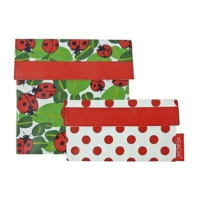 Sachi Reusable Sandwich/ Snack Lunch Pockets Set of 2 - Lady Bug