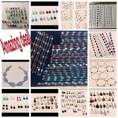 1789Gm 925 Solid Sterling Silver & Mix Gemstone Huge Variety Wholesale 182Pc Lot