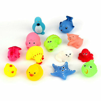 13pcs Different Squeaky Floating Animals Ocean Rubber Baby Bath Bathing Toys SN