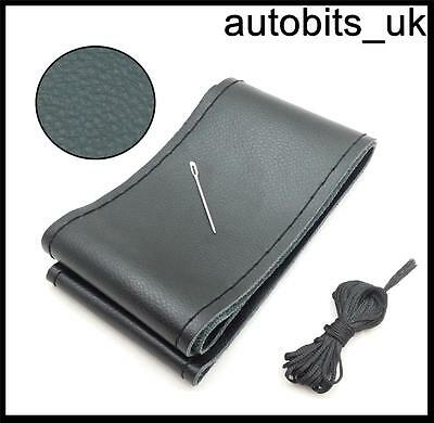 Black Genuine Leather Diy Steering Wheel Cover Size M With Needle And Threads M