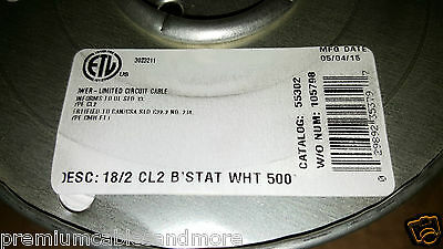 Coleman Cable CCI 55302 18/2C 18 awg 2 Cond Solid Thermostat Cable White /50ft