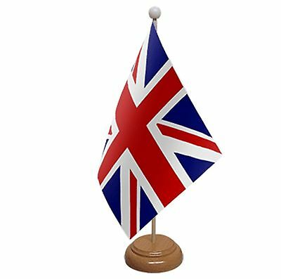 """UNION JACK TABLE FLAG 9""""X6""""  WITH WOODEN BASE Great Britain UK FLAGS"""