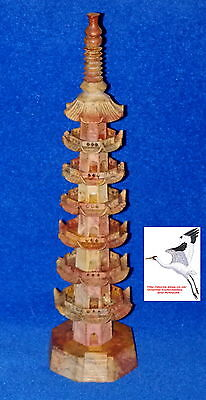 """Chinese Soapstone 18"""" Tall Temple Building Oriental Carved Religious Ornament"""
