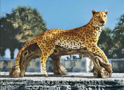 EXOTIC AFRICAN LEOPARD STATUE Jungle Predator Hunter Outdoor Garden Sculpture