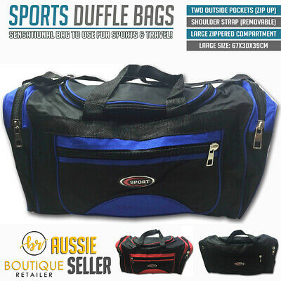SPORTS BAG LARGE With Shoulder Strap Gym Duffle Travel Bags Water Resistant New
