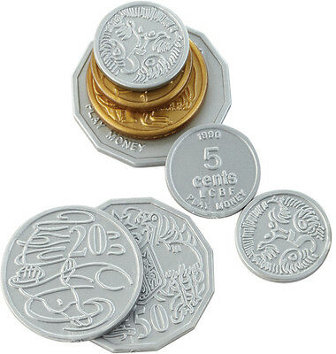 Plastic Coins Australian Play Money 106 coins Currency Maths
