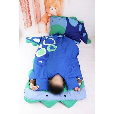 Cartoon Child Boy Girl Big Sleeping Bag Sheet Slumber Bag w/Pillow blue dinosaur