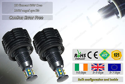 2x BMW Cree H8 LED White Error Free CanBus 80W Angel Eyes Bulbs Halo Rings Light