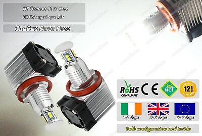 BMW H8 CanBus Cree LED White Xenon NoError Free 80W Angel Eyes Bulbs Halo Rings