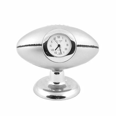 Miniature clock RUGBY BALL Silver plated brand new