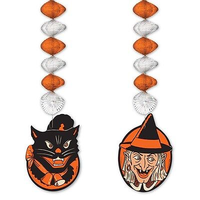 Retro HALLOWEEN WITCH AND BLACK CAT DANGLERS Decorations*VTG Beistle 1952