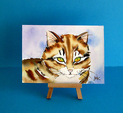 "Cat Kitten Deco Wall Art  Small Painting ORIGINAL Pet Animals  Watercolor 4""x6 """