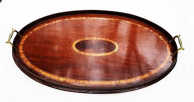 1795 Georgian Hepplewhite Federal Antique Centerpiece Mahogany Tea Serving Tray