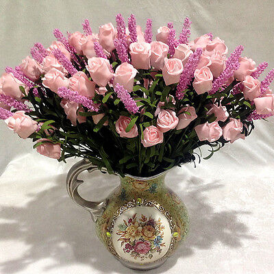 Bridal 9 Heads Lavender Rose Artificial Peony Silk Flowers Hydrangea Bouquet