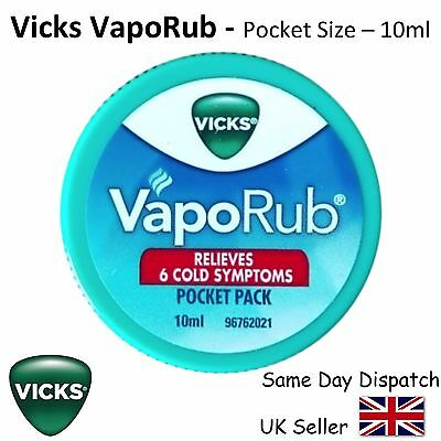 VICKS VAPORUB - FAST RELIEF COLD & COUGH & BLOCKED NOSE - 10ml pocket size -