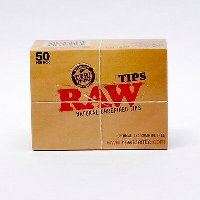 Raw Tips Full Box Hemp Roach Filter Tips Chlorine Free (X50 Packs Per Box)