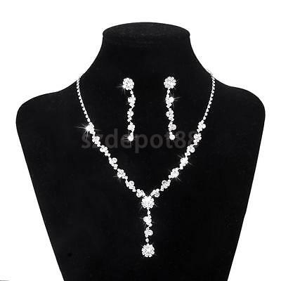 Crystal Necklace & Drop Earrings Wedding Party Bridal Bridesmaid Jewelry Set
