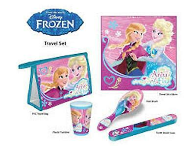 Disney FROZEN ANNA ELSA 5pc Travel Set - Towel Cup Toothbrush Cover Brush Bag