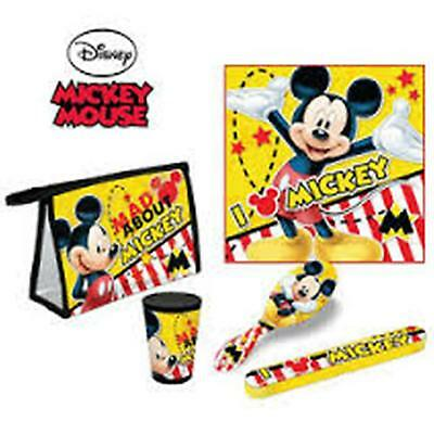 Disney MICKEY MOUSE 5pc Travel Set - Towel, Cup, Toothbrush Cover, Brush, Bag
